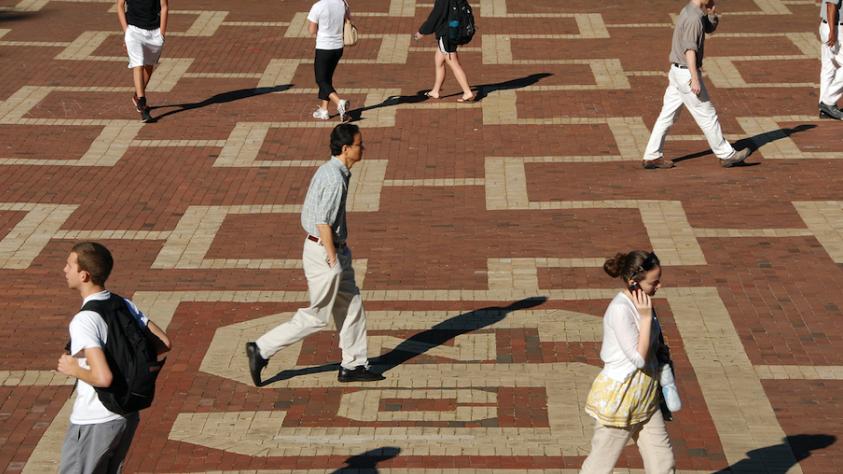 people walking on brickyard