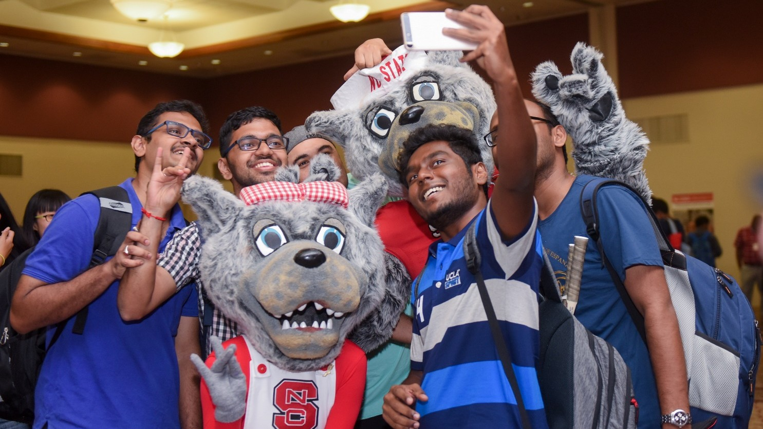 Wolf mascots with students