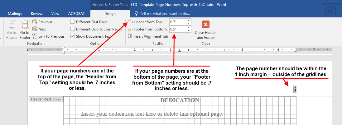 headers page margins and spacing the graduate school nc state