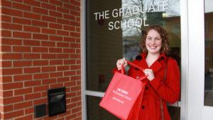 Kelsey in front of Graduate School