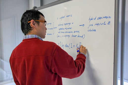 Image of a writer diagramming his thesis on a whiteboard