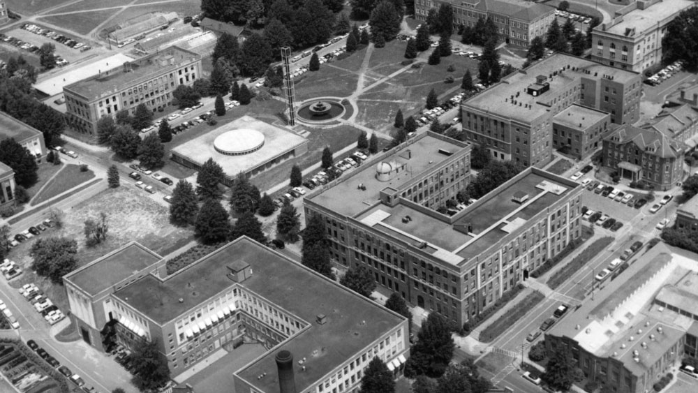 Aerial view of campus, 1950s